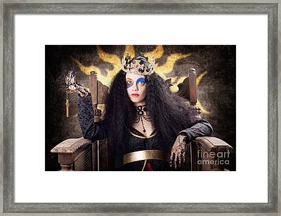 Storybook Queen Jester Holding Religious Cross Framed Print by Jorgo Photography - Wall Art Gallery
