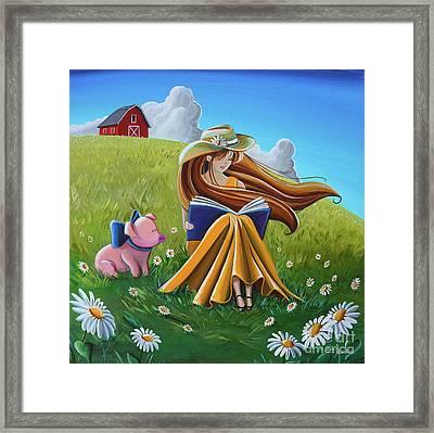 Storytime On The Farm Framed Print by Cindy Thornton