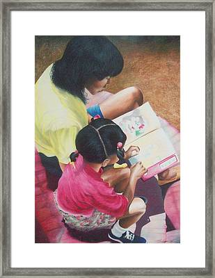 Storytime On The Steps 1 Framed Print by Sylvester Hickmon