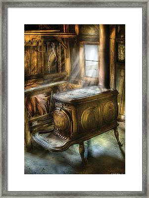 Stove - A Warm Cozy Stove Framed Print by Mike Savad