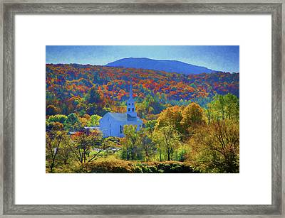 Framed Print featuring the photograph Stowe Vermont Church In Fall by Jeff Folger