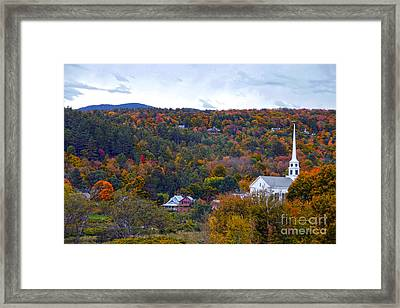Stowe Vermont In Autumn Framed Print by Catherine Sherman
