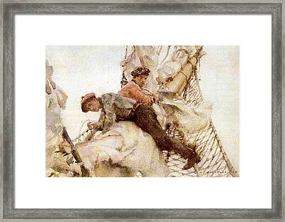 Framed Print featuring the painting Stowing The Headsails  by Henry Scott Tuke