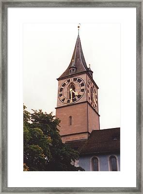 St.peter Church Clock In Zurich Switzerland Framed Print