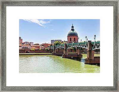 St.pierre Bridge In Toulouse Framed Print by Elena Elisseeva