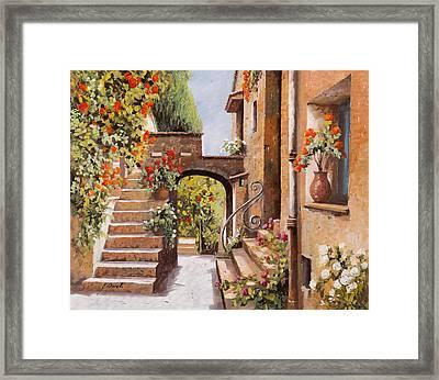 stradina di Cagnes Framed Print by Guido Borelli