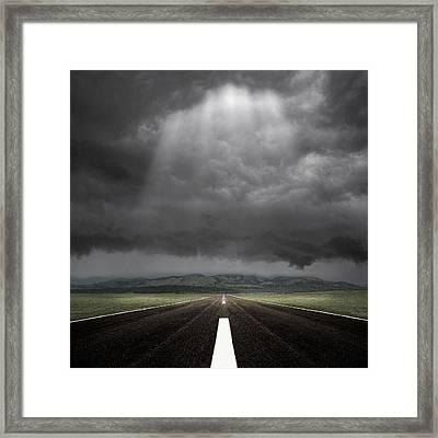 Straight Road Framed Print by Carlos Gotay