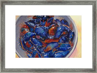 Strained Mussels Framed Print by Judy Mercer