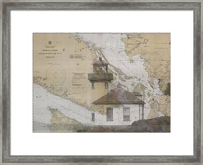 Strait Of Juan De Fuca Nautical Chart Lighthouse Framed Print