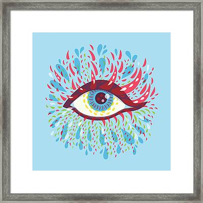 Strange Blue Psychedelic Eye Framed Print by Boriana Giormova
