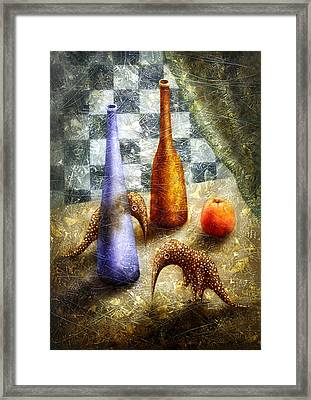 Strange Games On The Table Framed Print by Lolita Bronzini