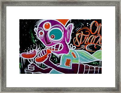 Framed Print featuring the painting Strange Graffiti Creature Eaitng Sausagees by Yurix Sardinelly