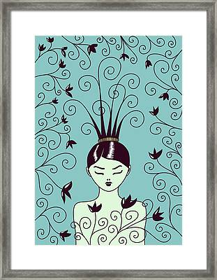 Strange Hairstyle And Flowery Swirls Framed Print