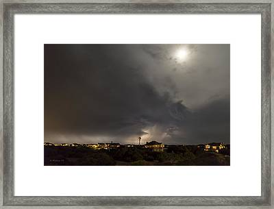 Strange Lightning Under The Moon Framed Print by Brian Wallace