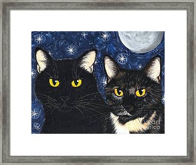 Framed Print featuring the painting Strangeling's Felines - Black Cat Tortie Cat by Carrie Hawks