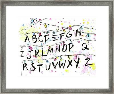Stranger Things Alphabet Christmas Lights Framed Print by Olga Shvartsur