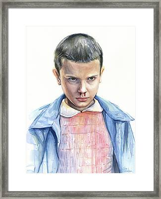 Stranger Things Eleven Portrait Framed Print by Olga Shvartsur