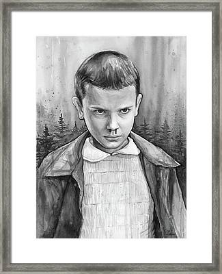 Stranger Things Fan Art Eleven Framed Print by Olga Shvartsur