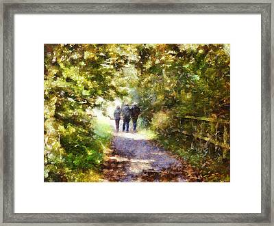 Strangers On A Footpath / In To The Light Framed Print