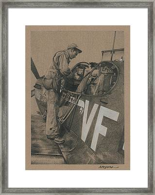 Strapping In Framed Print