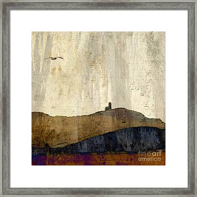 Strata With Lighthouse And Gull Framed Print