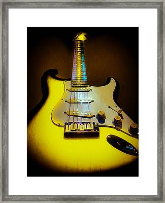 Framed Print featuring the digital art Stratocaster Lemon Burst Glow Neck Series by Guitar Wacky