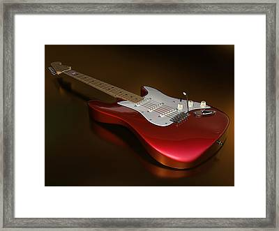 Stratocaster On A Golden Floor Framed Print
