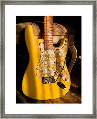 Framed Print featuring the digital art Stratocaster Plus In Graffiti Yellow by Guitar Wacky