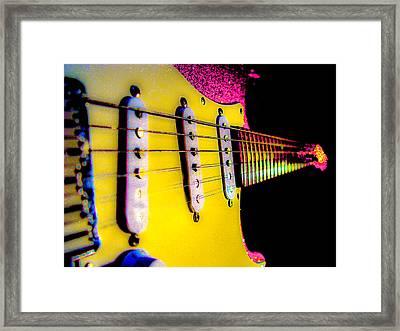 Framed Print featuring the photograph Stratocaster Pop Art Pink Fire Neck Series by Guitar Wacky