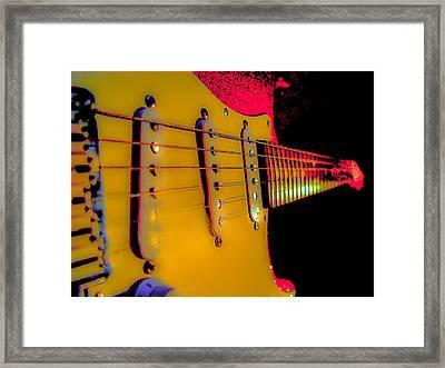 Framed Print featuring the photograph Guitar Pop Art Hot Rasberry Fire Neck Series by Guitar Wacky