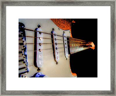 Framed Print featuring the photograph Stratocaster Pop Art Tangerine Sparkle Fire Neck Series by Guitar Wacky