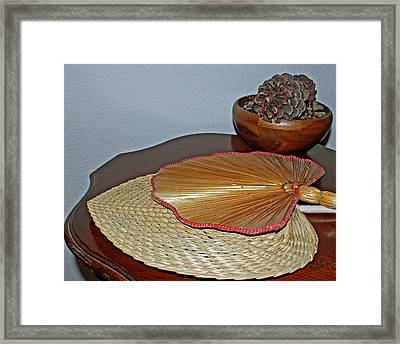 Framed Print featuring the photograph Straw Fans by Judy Vincent