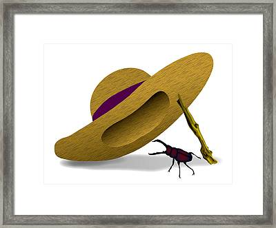 Straw Hat And Stag Beetle Framed Print