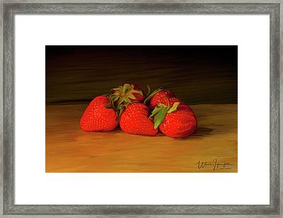 Strawberries 01 Framed Print by Wally Hampton
