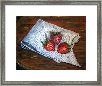 Strawberries-3 Contemporary Oil Painting Framed Print by Natalja Picugina