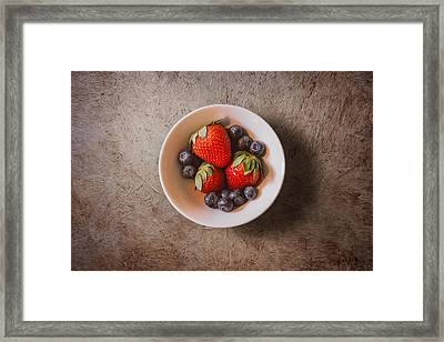 Strawberries And Blueberries Framed Print by Scott Norris