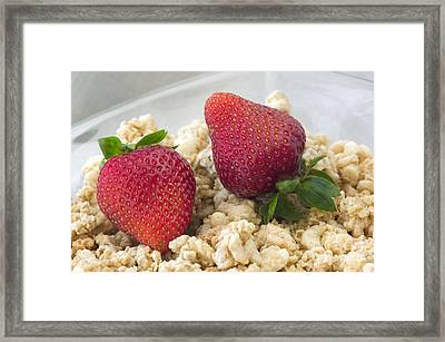 Strawberries And Granola Framed Print