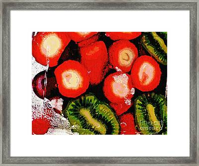 Strawberries And Kiwi Framed Print by Sarah Loft