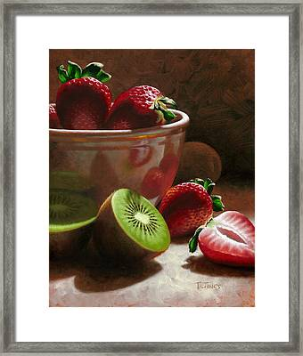 Strawberries And Kiwis Framed Print