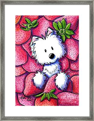 Strawberries N Cream Framed Print by Kim Niles