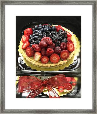Strawberries Rasberries Luscious Dessert Fruit Pie With Red Bow  Framed Print by Kathy Fornal