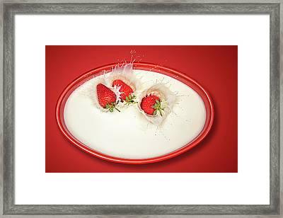 Strawberries Splashing In Milk Framed Print