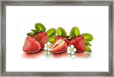 Strawberries Framed Print by Veronica Minozzi