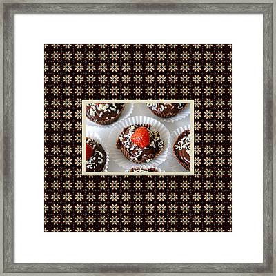 Framed Print featuring the photograph Strawberry And Dark Chocolate Mousse Dessert by Shelley Neff