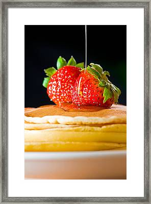 Strawberry Butter Pancake With Honey Maple Sirup Flowing Down Framed Print by Ulrich Schade