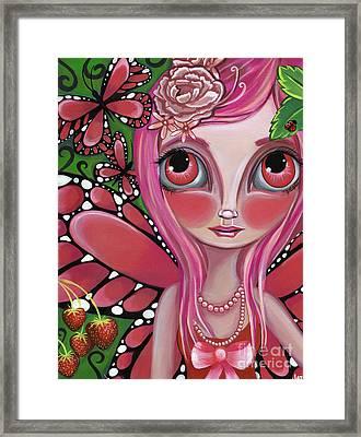 Strawberry Butterfly Fairy Framed Print by Jaz Higgins