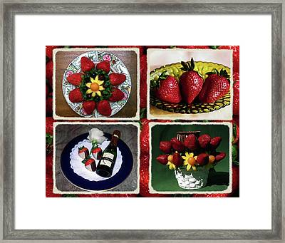 Strawberry Collage Framed Print by Sally Weigand