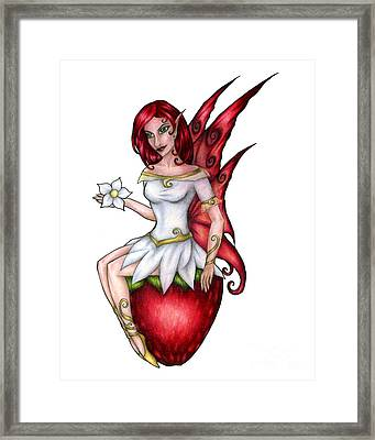 Strawberry Fairy Drawing Framed Print