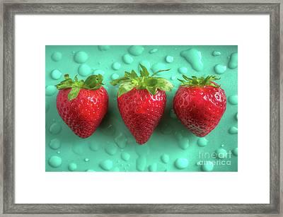 Strawberry Fresh Three Framed Print by Carlos Caetano