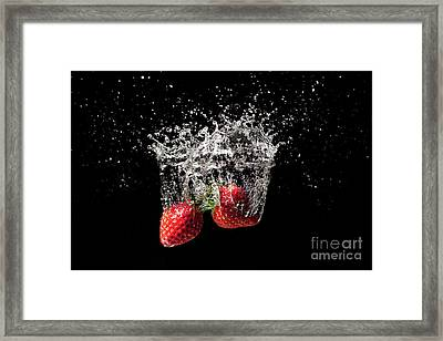 Strawberry Fruit Big Splash Into Water Framed Print